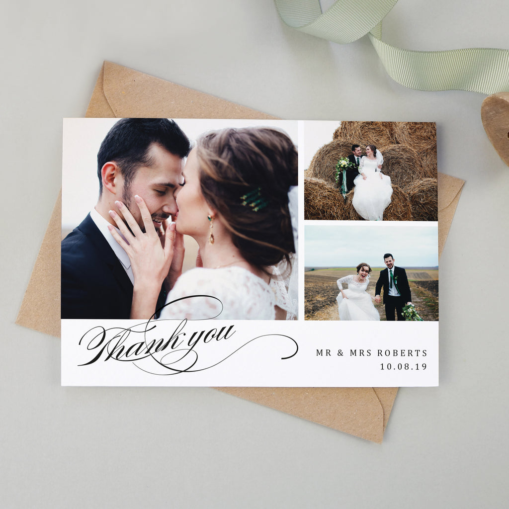 Victoria Collage Wedding Photo Thank You Cards