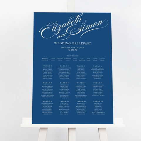 victoria script wedding table plan