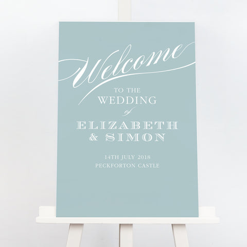 Traditional Victoria wedding welcome sign
