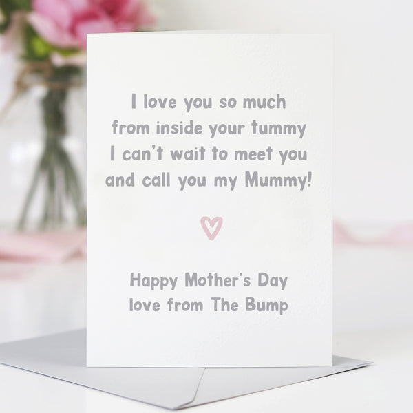 Mum to be 'I love you from inside your tummy' Mother's day card