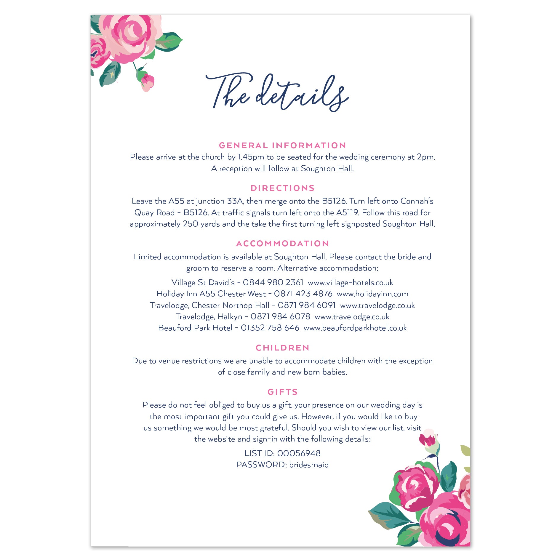 Information To Include On Wedding Invitation: Adela Information Card