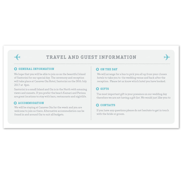 Airline Boarding Pass information card