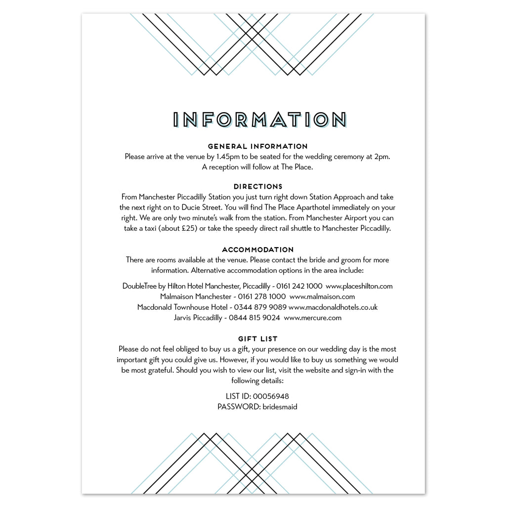 Geometric information card