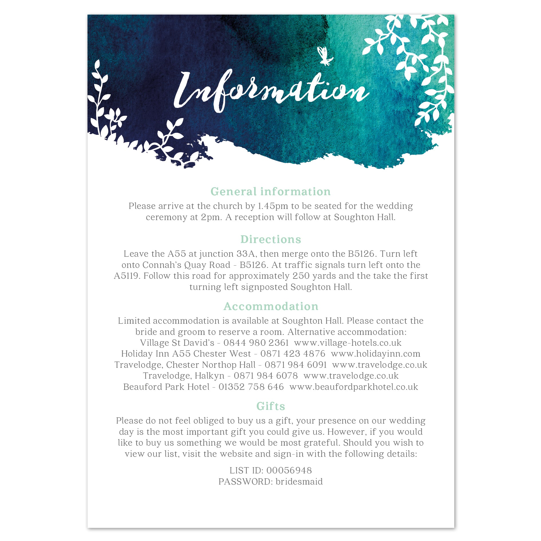 Helena information card
