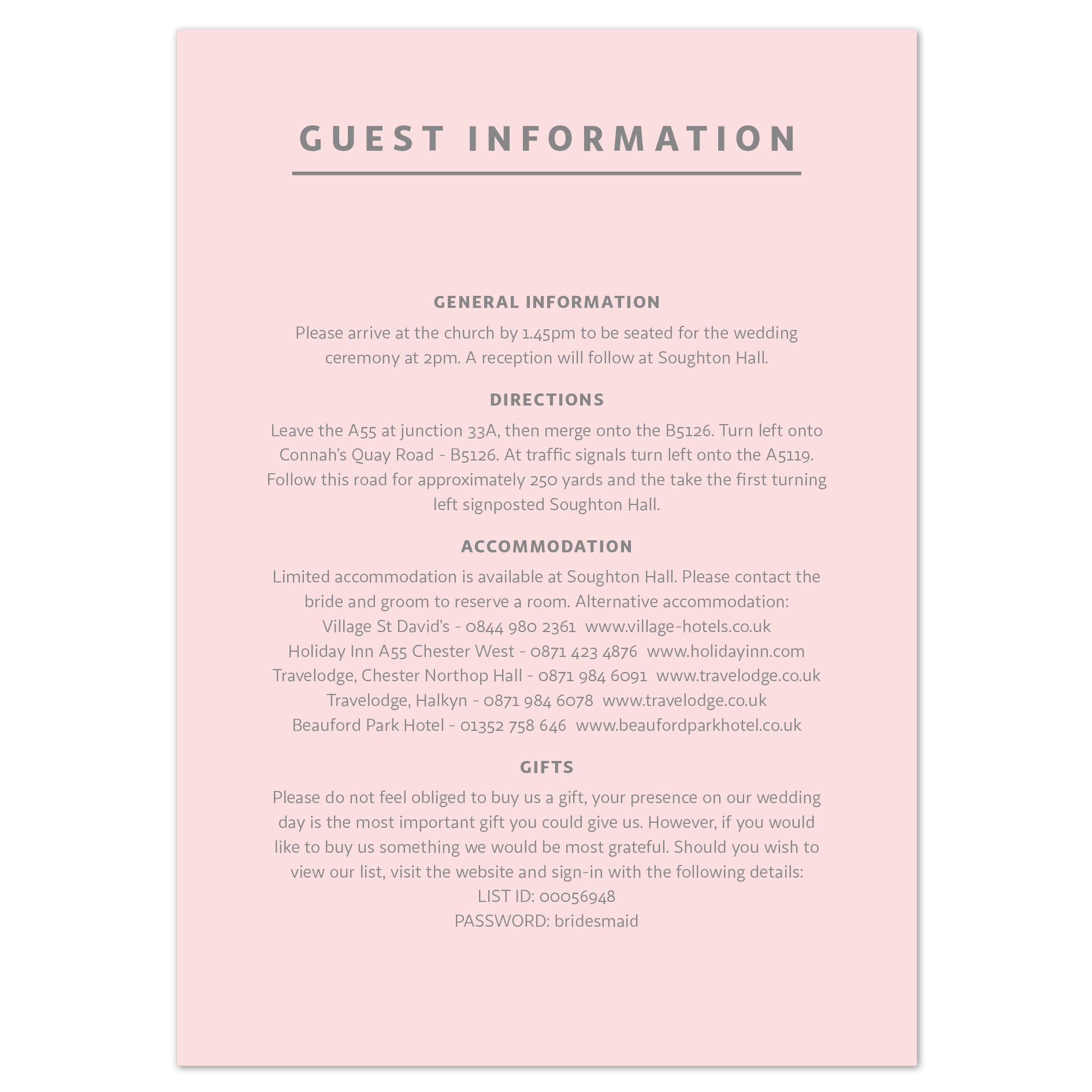 Marble information card