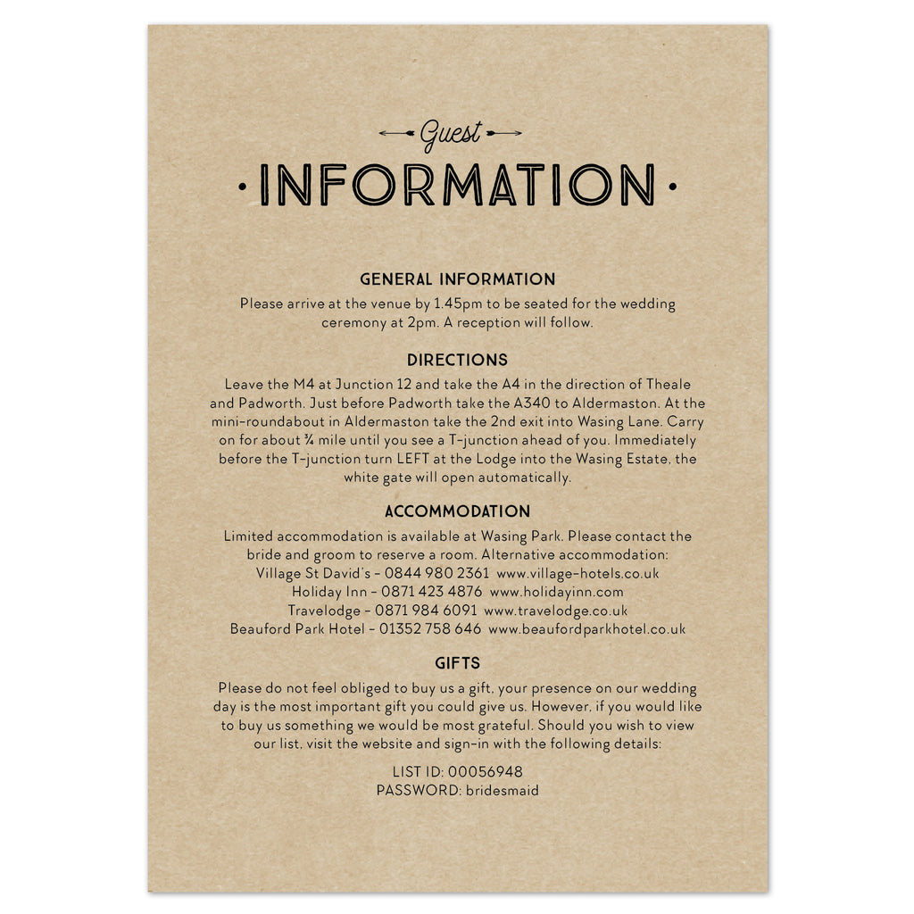 Adventure information card
