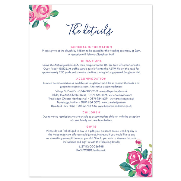 Information To Include In Wedding Invitations: Adela Information Card