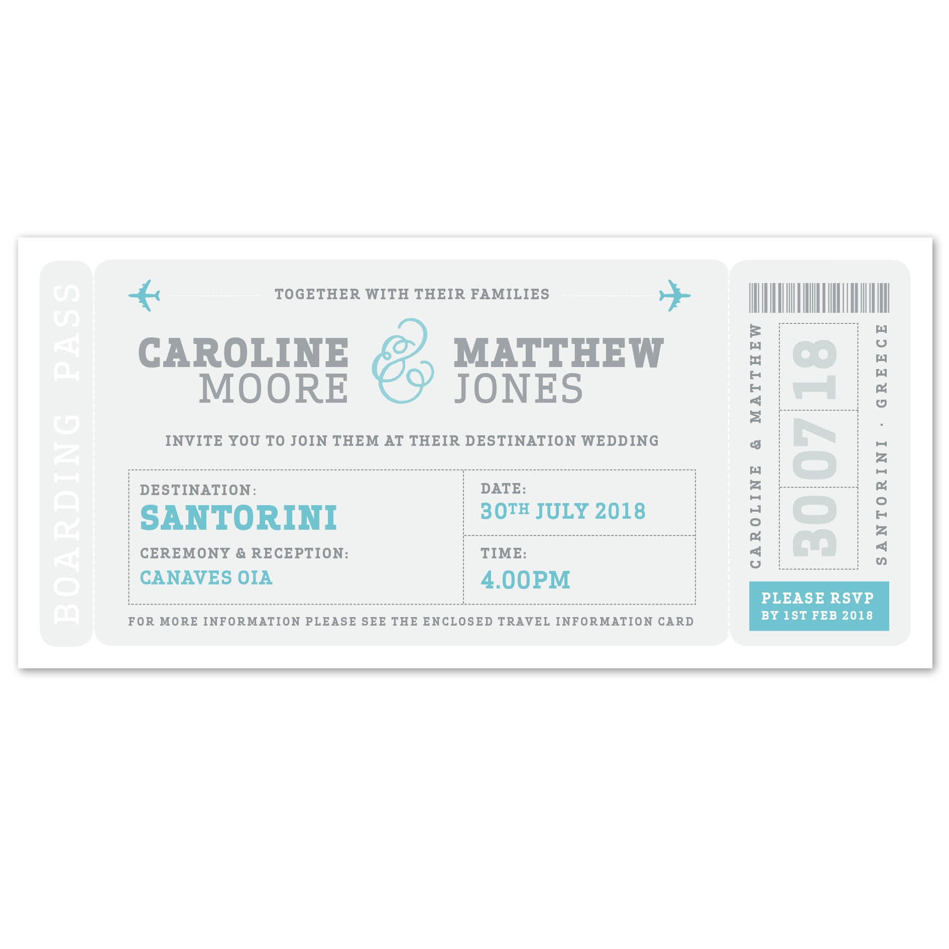Airline Boarding Pass Wedding Invitation