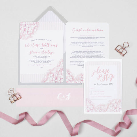 Hydrangea Pink Wedding Invitation