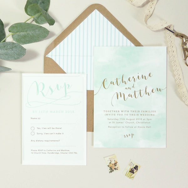 Mint Romance Wedding Invitation