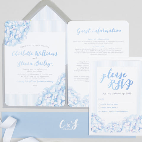 Hydrangea Blue Wedding Invitation
