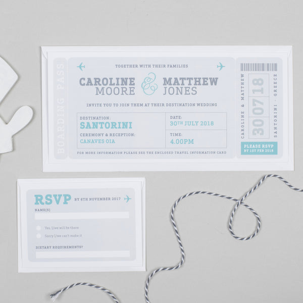Airline Boarding Pass RSVP card