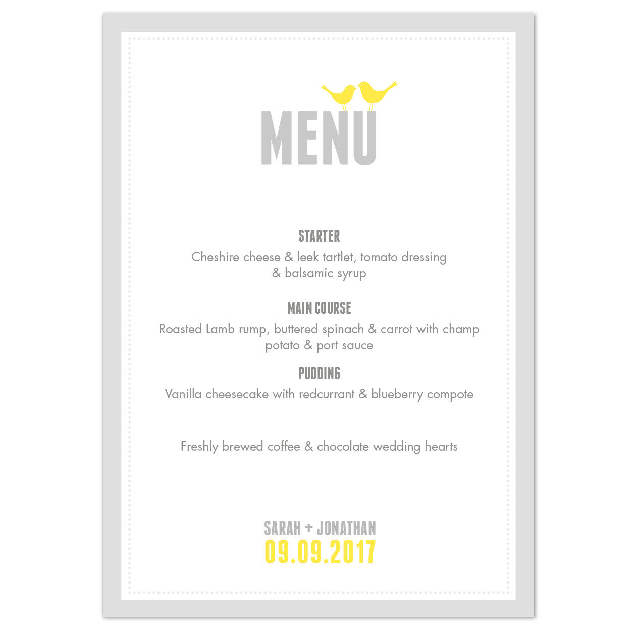 Amy Menu Cards
