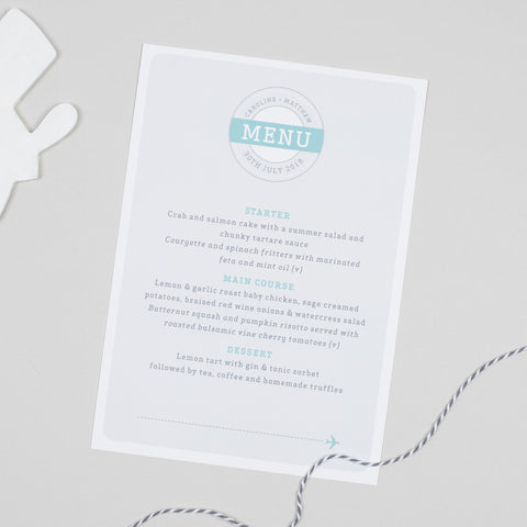 Boarding Pass Menu Cards