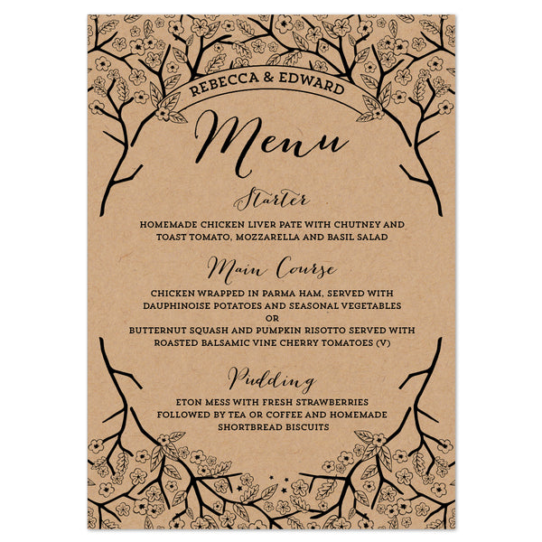 Enchanted Forest Kraft Menu Cards