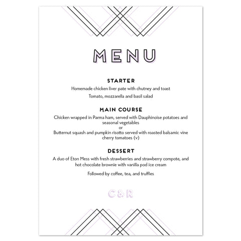 Geometric Menu Cards