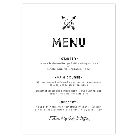 Adventure Menu Cards