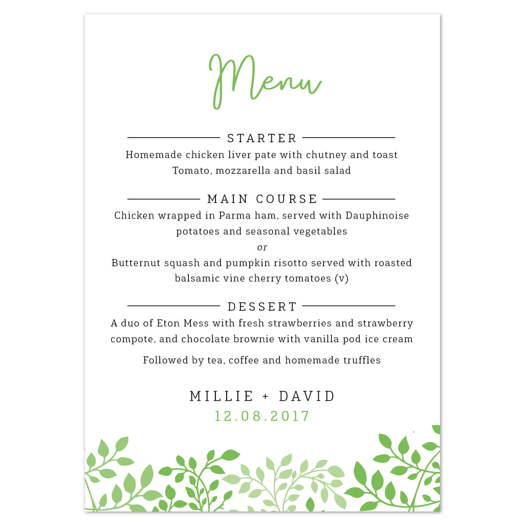Alice Menu Cards