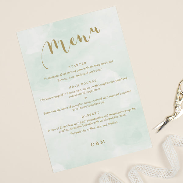 Mint Romance Menu Cards