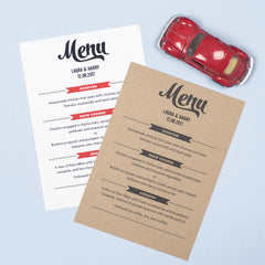 Retro Vintage Kraft Menu Cards
