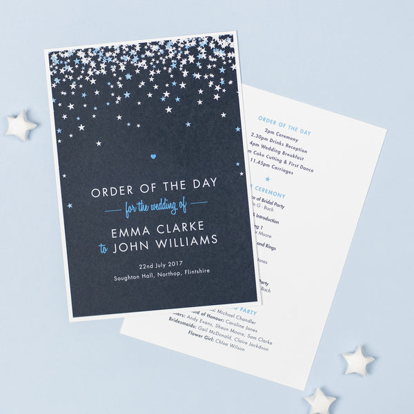 Bella Wedding Order Of The Day Program Cards