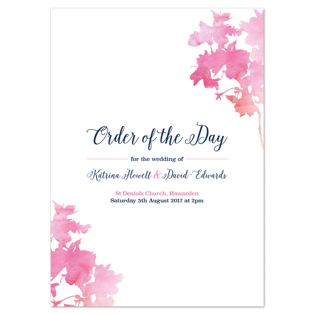 Blossom Wedding Order Of The Day Program Cards