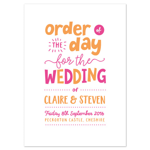 Charlie Wedding Order Of The Day Program Cards