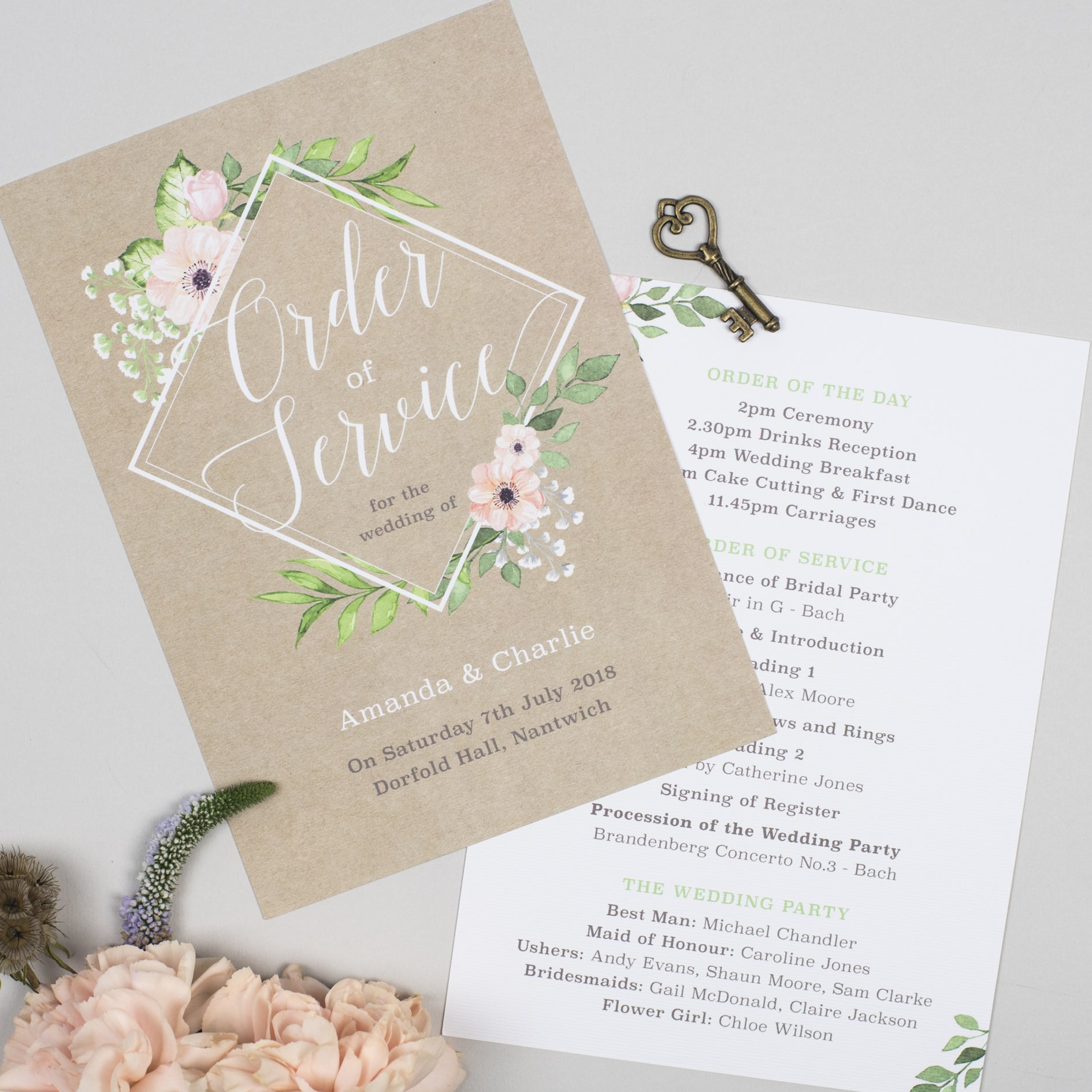 Eloise Wedding Order Of The Day Program Cards