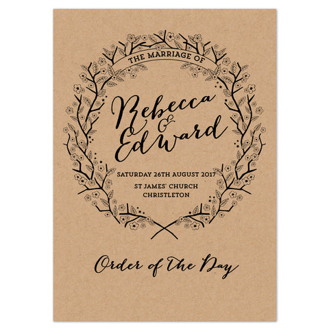 Enchanted Forest Kraft Wedding Order Of The Day Program Cards