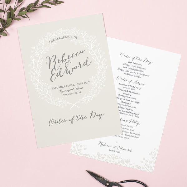 Enchanted Forest Wedding Order Of The Day Program Cards