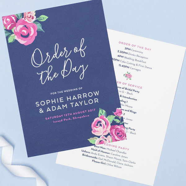 Adela Wedding Order Of The Day Program Cards