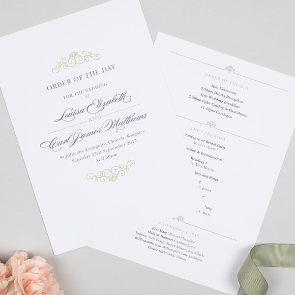 Eva Wedding Order Of The Day Program Cards