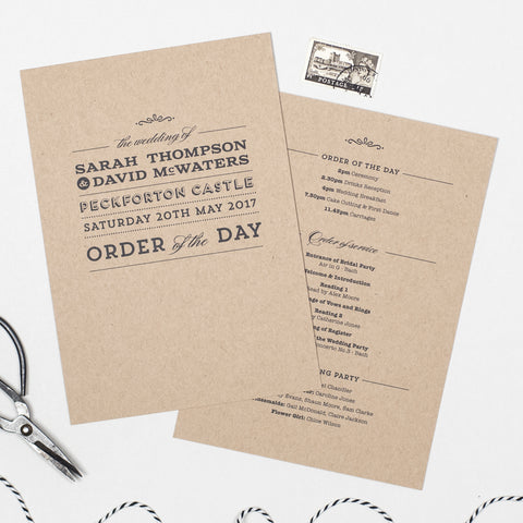 Frankie Wedding Order Of The Day Program Cards