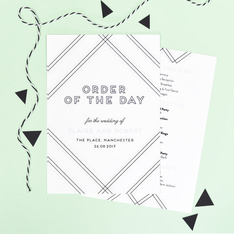 Geometric Wedding Order Of The Day Program Cards