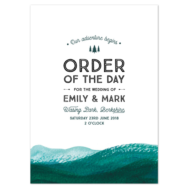 Adventure Wedding Order Of The Day Program Cards