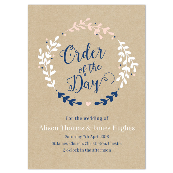 Hannah Wedding Order Of The Day Program Cards