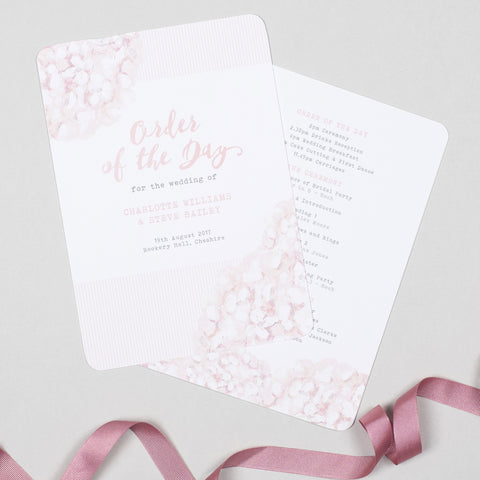 Hydrangea Pink Order Of The Day Program Cards