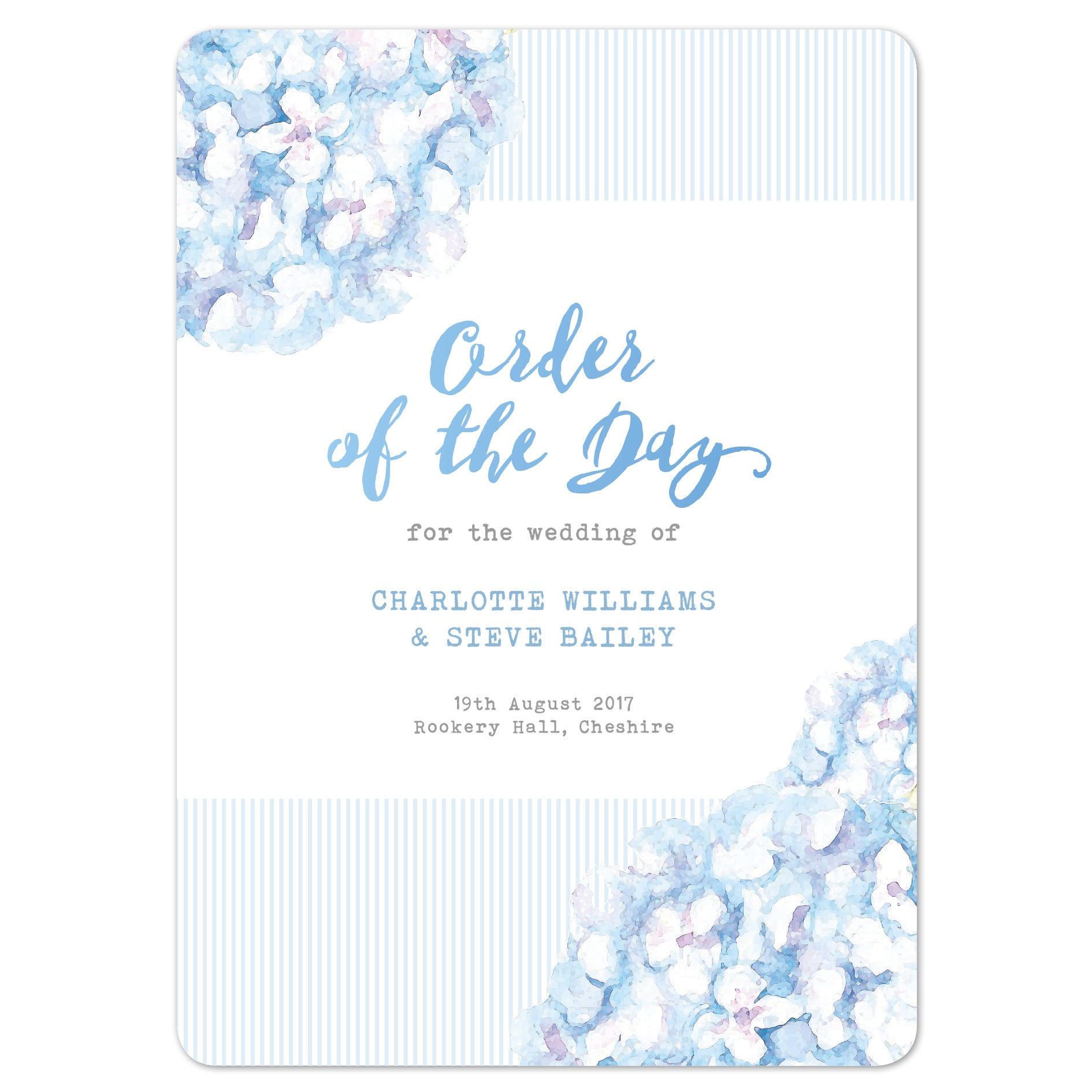 Hydrangea Blue Order Of The Day Program Cards
