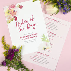 Lucy Wedding Order Of The Day Program Cards