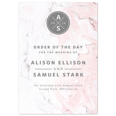 Marble Wedding Order Of The Day Program Cards