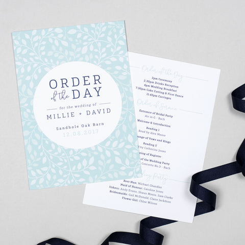Alice Wedding Order Of The Day Program Cards