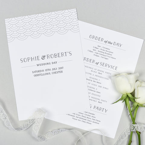 Millie Wedding Order Of The Day Program Cards