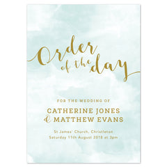 Mint Romance Wedding Order Of The Day Program Cards