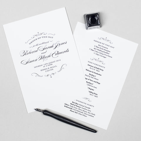 Olivia Wedding Order Of The Day Program Cards