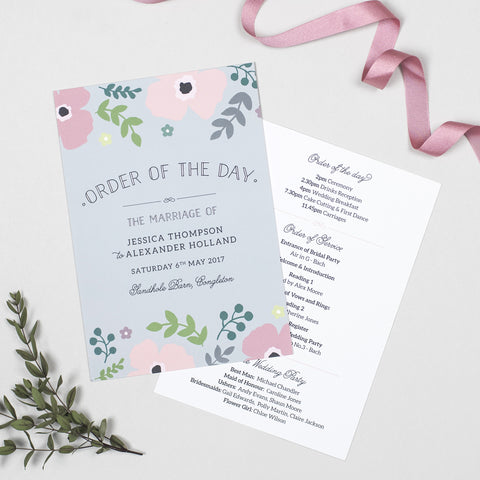 Poppy Wedding Order Of The Day Program Cards