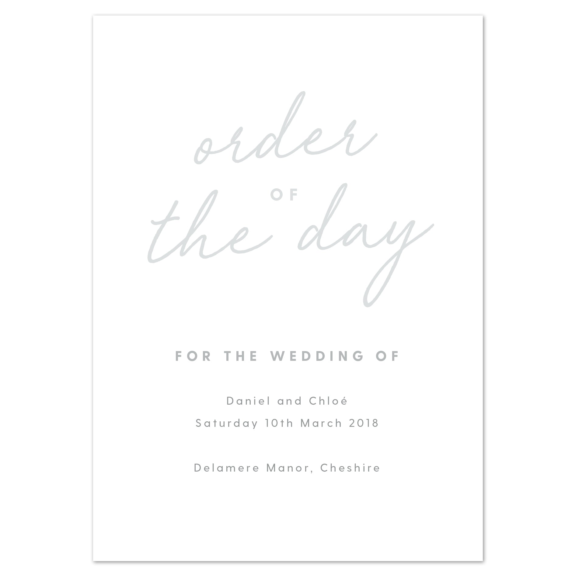 Rachel Wedding Order Of The Day Program Cards