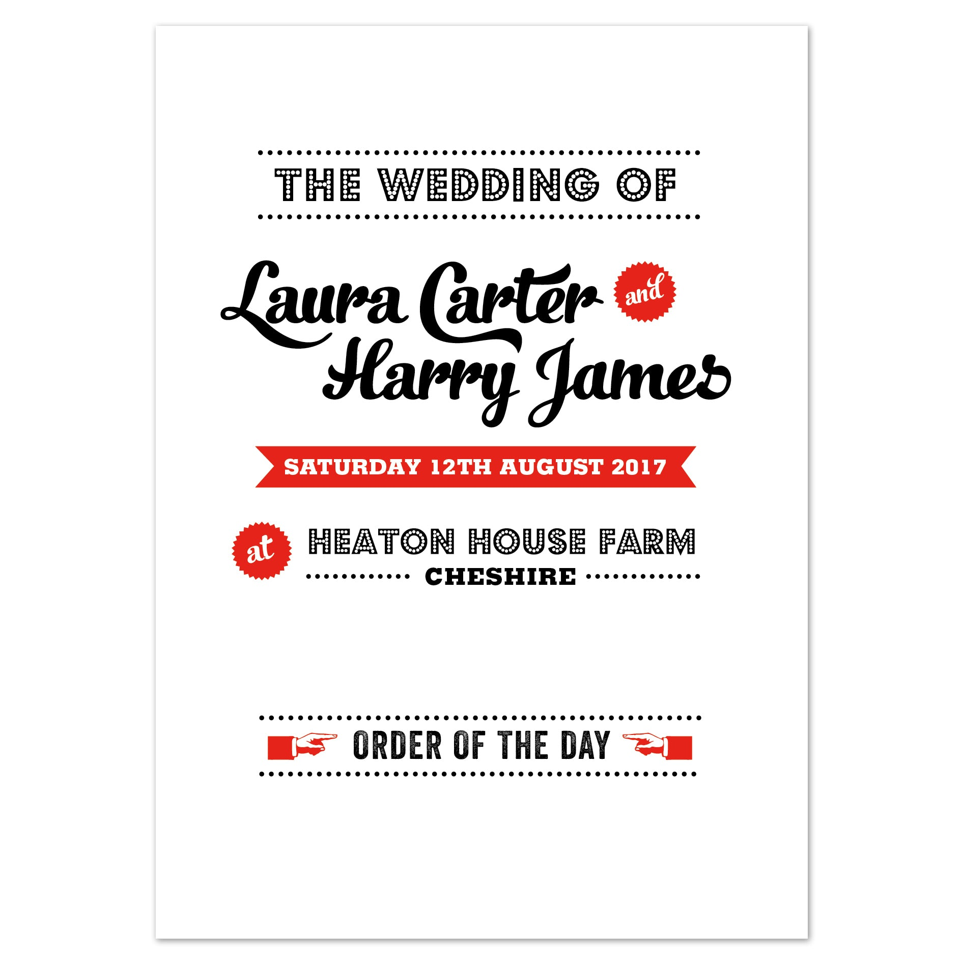 Retro Vintage Wedding Order Of The Day Program Cards