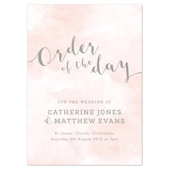Romance Wedding Order Of The Day Program Cards