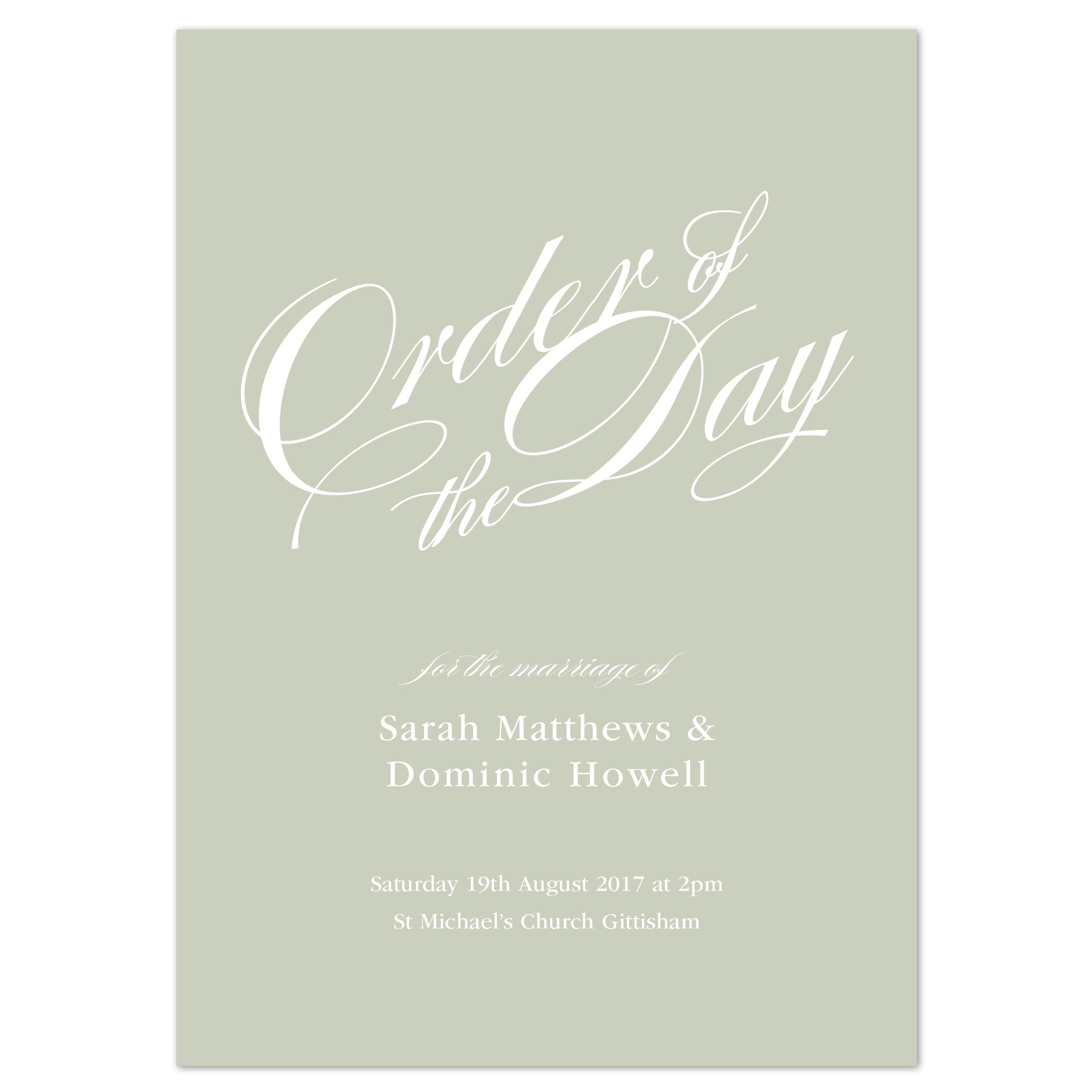 Victoria Wedding Order Of The Day Program Cards