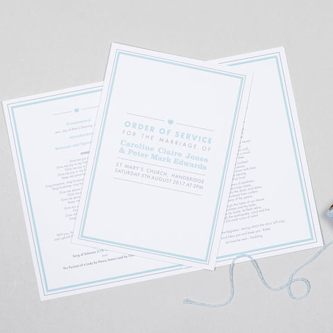 Amelia Order of Service booklets